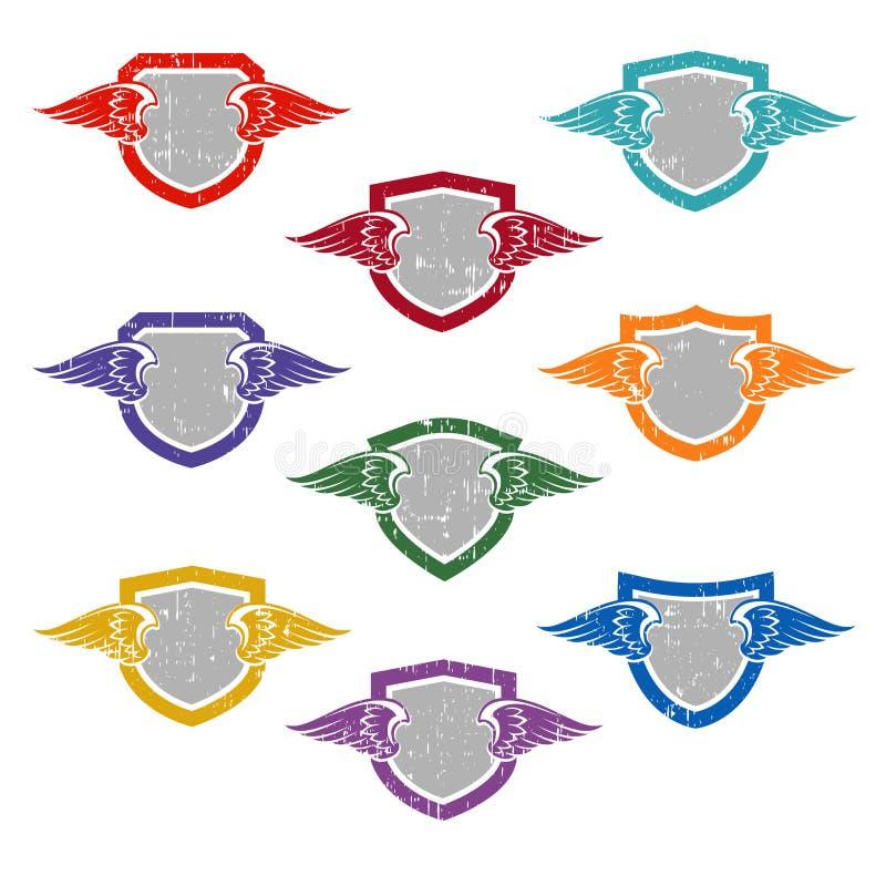 Reeks schilden met vleugels voor embleemontwerp, t-shirts, etiketten, stickers vector illustratie