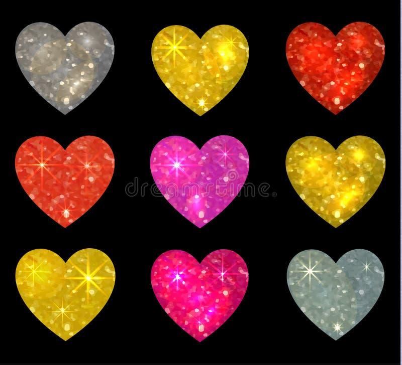 Reeks schitterende die harten op zwarte wordt geïsoleerd Vector illustratie royalty-vrije illustratie