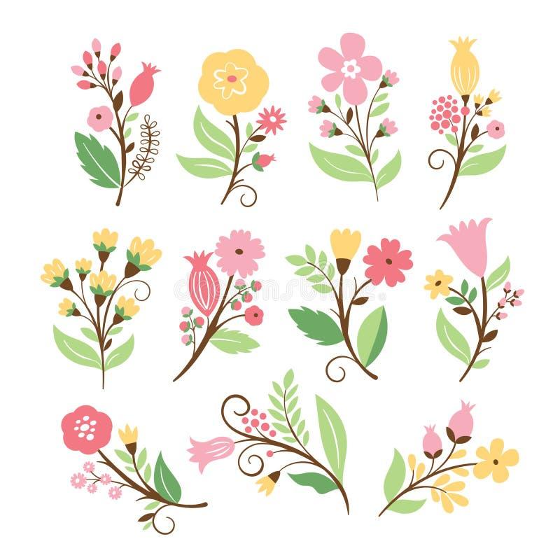 Reeks schoonheids bloemenboeketten stock illustratie