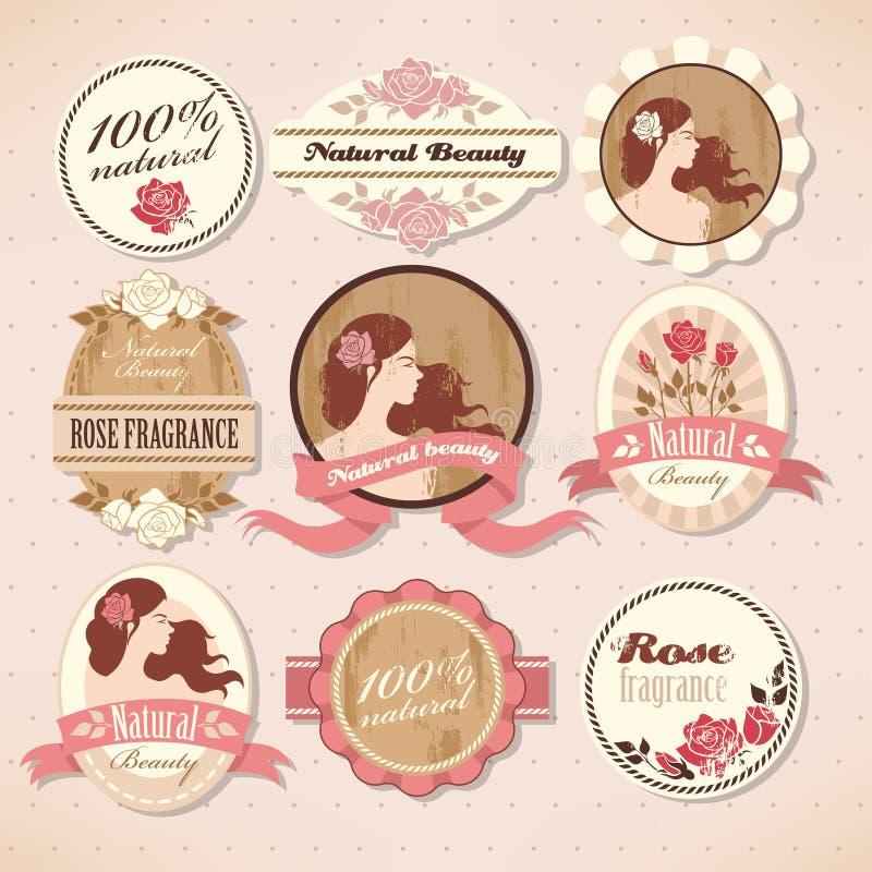 Reeks schoonheidsetiketten royalty-vrije illustratie