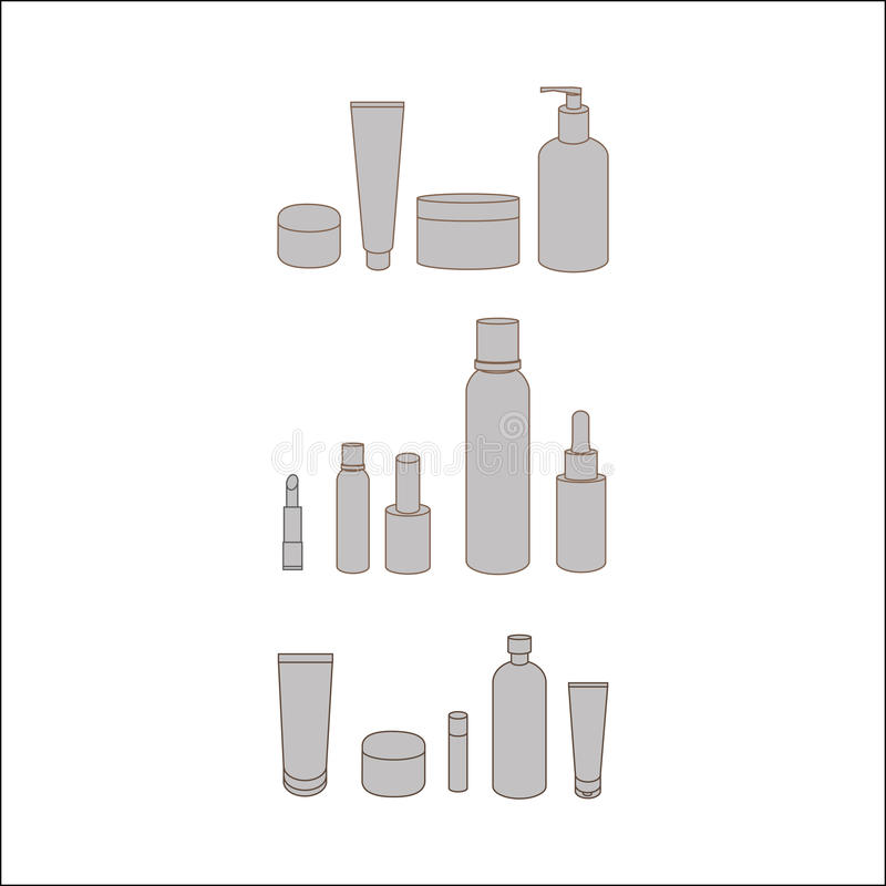 Reeks schoonheidsmiddelen voor huidzorg Lichaamscrème De fles van de pomp voor gezichtsroom huidpartij royalty-vrije stock afbeeldingen