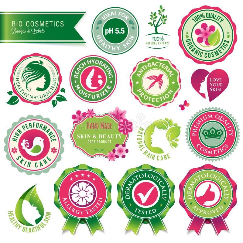 Reeks schoonheidsmiddelenkentekens en etiketten vector illustratie