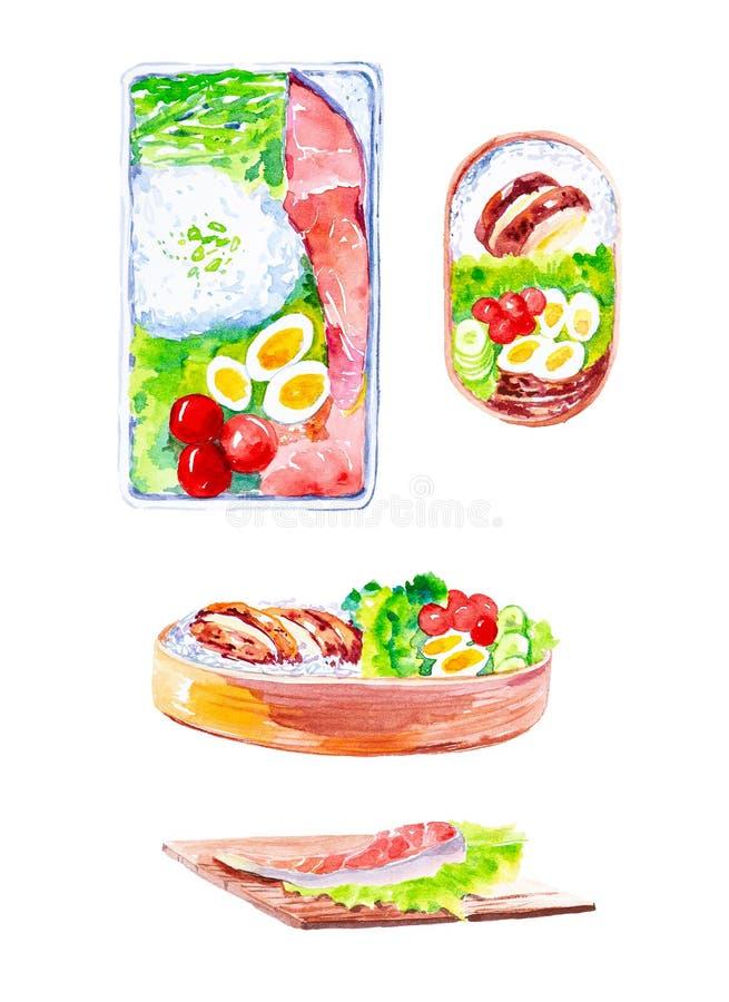 Reeks schotels met rode vissen en rijst, salade en tomaten met komkommers Waterverfillustratie op witte achtergrond wordt ge?sole vector illustratie