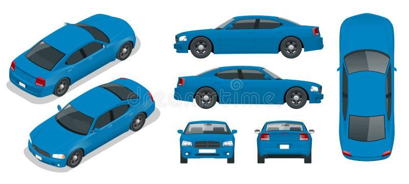 Reeks Sedanauto's Geïsoleerde auto, malplaatje voor het brandmerken en reclame Voor, achter, zij, hoogste en isometry voor en stock illustratie