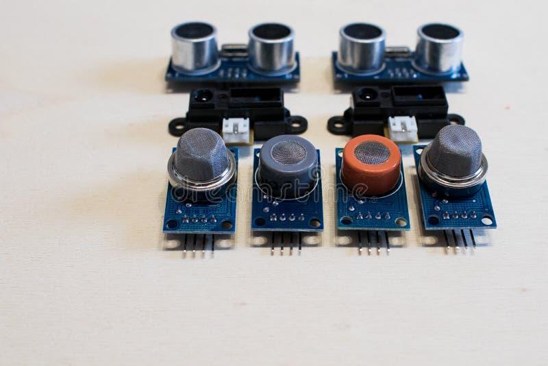 Reeks sensoren voor methaangas, koolmonoxide, ultrasoon Co2, stock fotografie