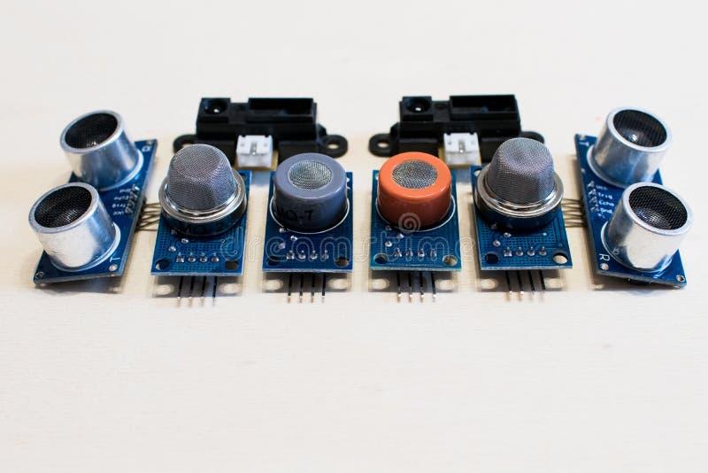 Reeks sensoren voor methaangas, koolmonoxide, ultrasoon Co2, royalty-vrije stock foto's
