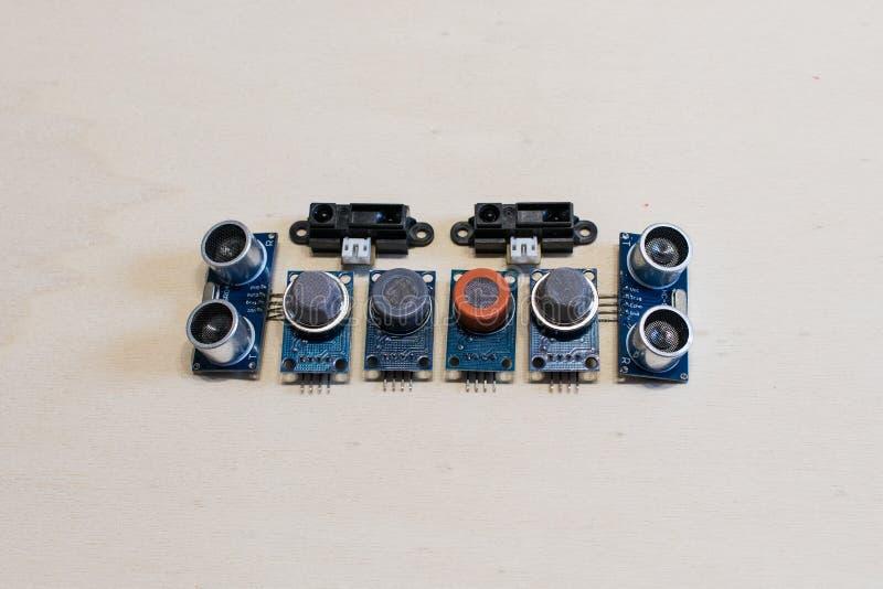 Reeks sensoren voor methaangas, koolmonoxide, ultrasoon Co2, royalty-vrije stock afbeeldingen
