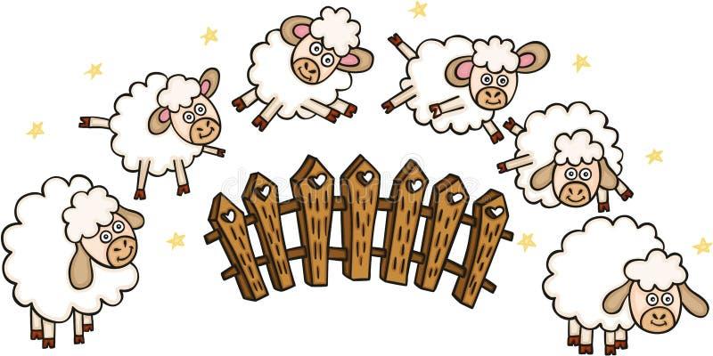 Reeks sheeps met een omheining stock illustratie