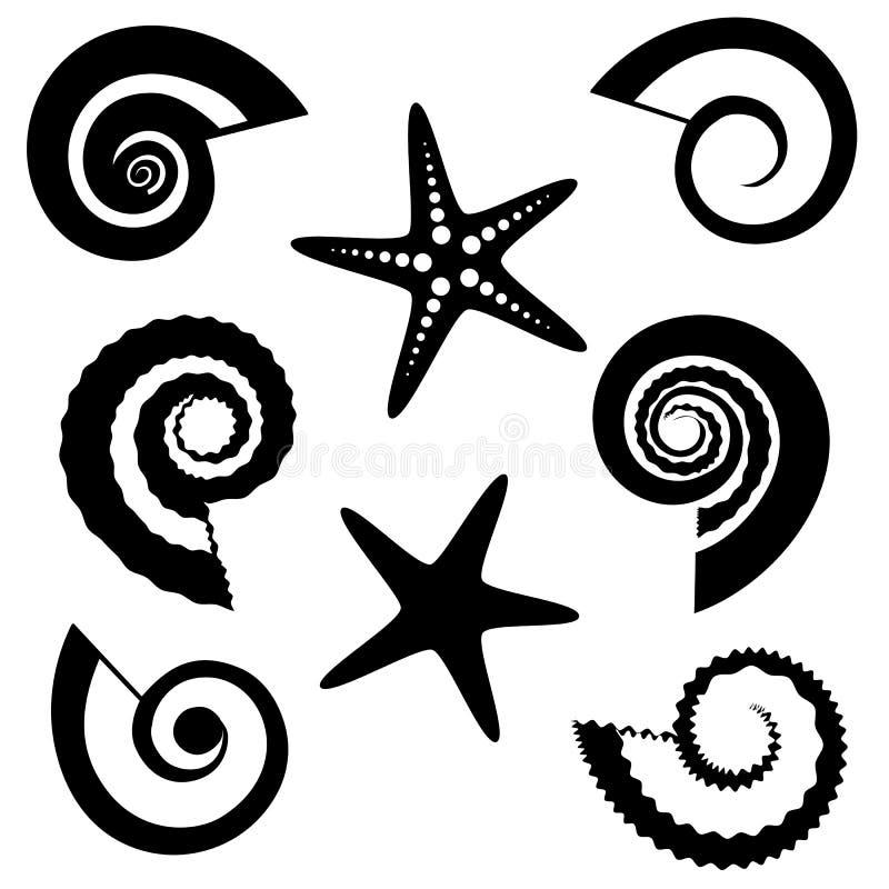 Shells en geplaatste zeestersilhouetten stock illustratie