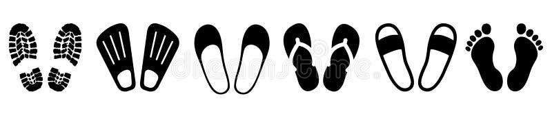 Reeks shoeprints, blootvoets, opwinding - vector vector illustratie