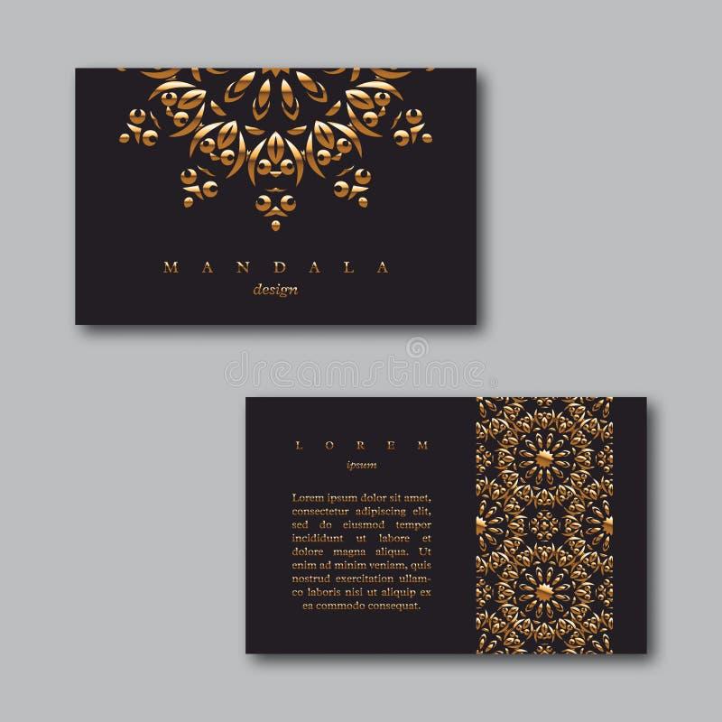 Reeks sier bedrijfs gouden kaarten met mandala en patroon vector illustratie