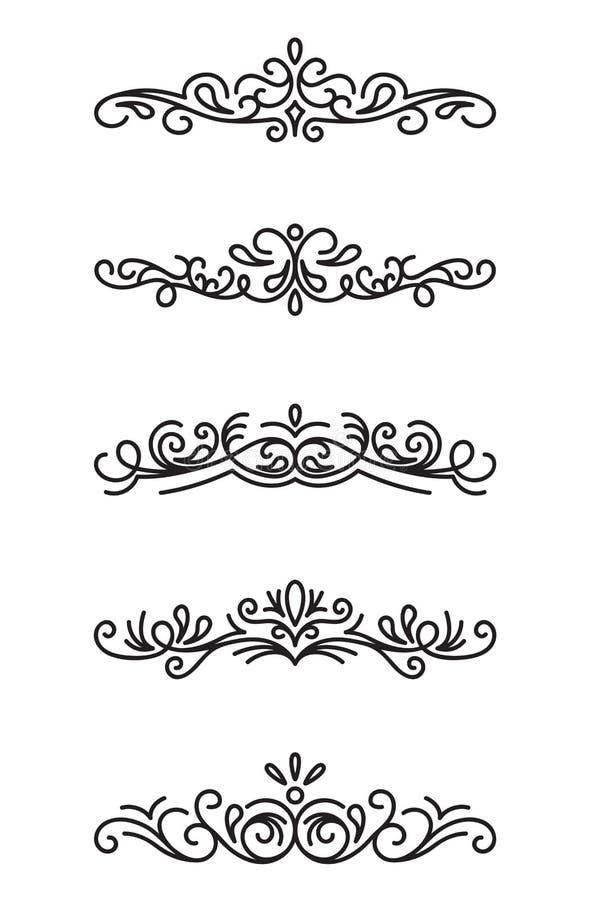 Reeks sier decoratieve elementen royalty-vrije illustratie