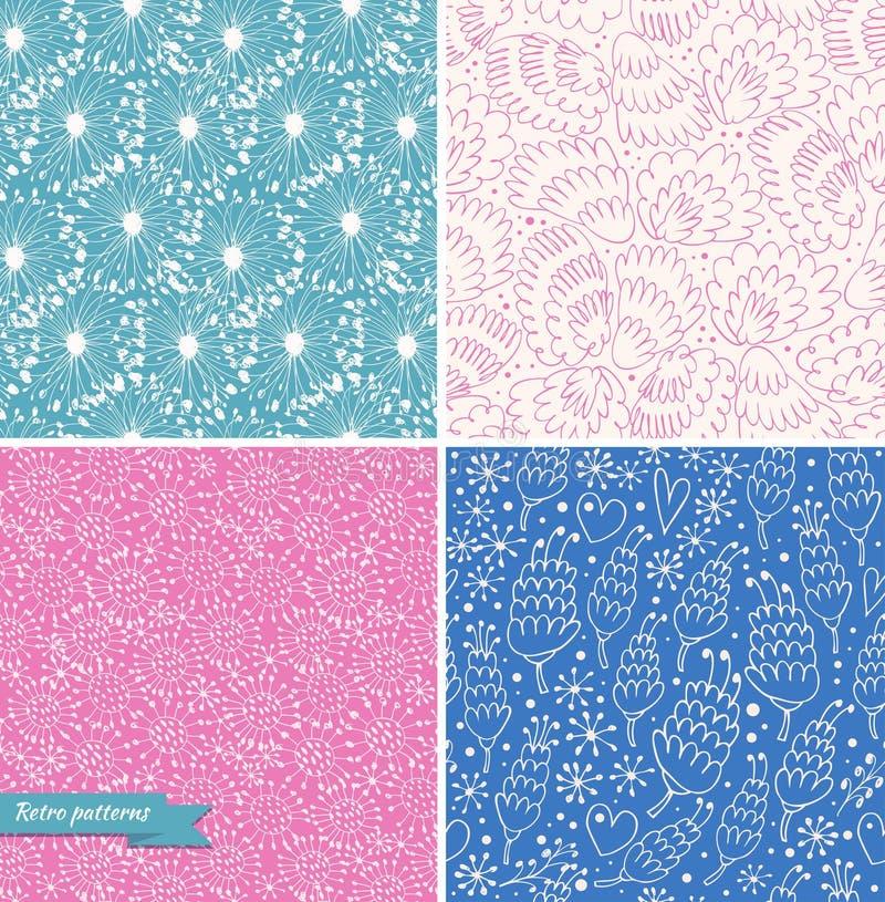 Reeks sier leuke naadloze bloemenpatronen Decoratieve schoonheidsachtergronden royalty-vrije illustratie