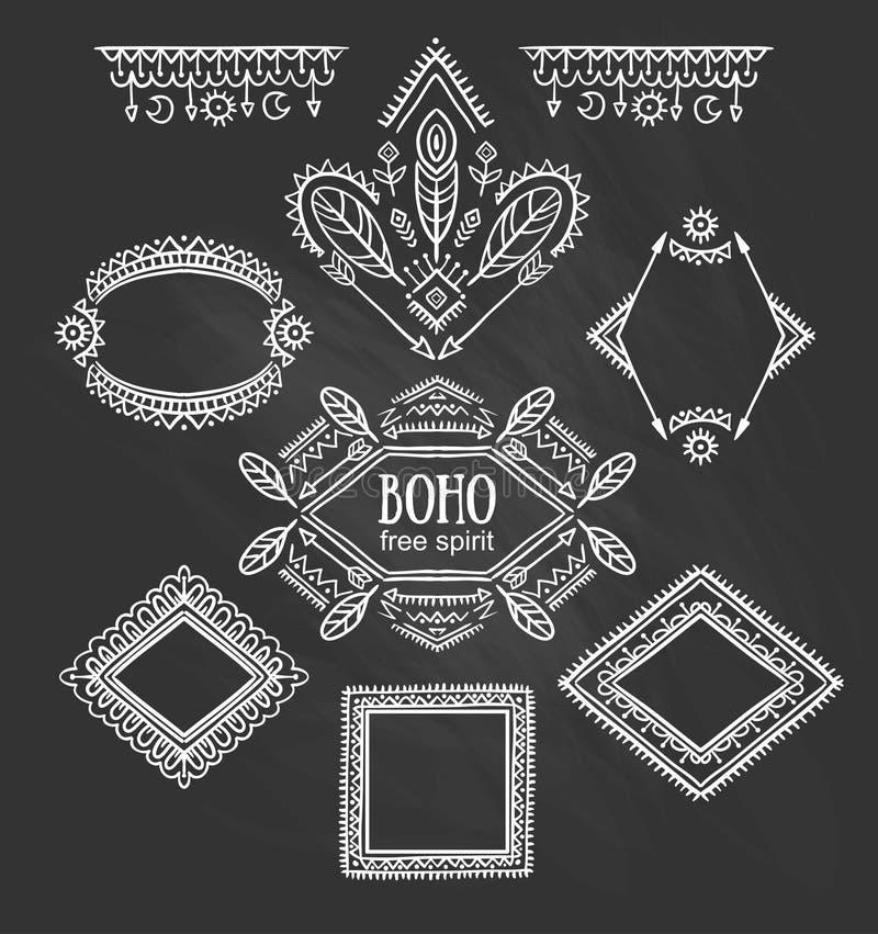 Reeks sierframes Vector Indische inzameling voor BOHO-ontwerp stock illustratie