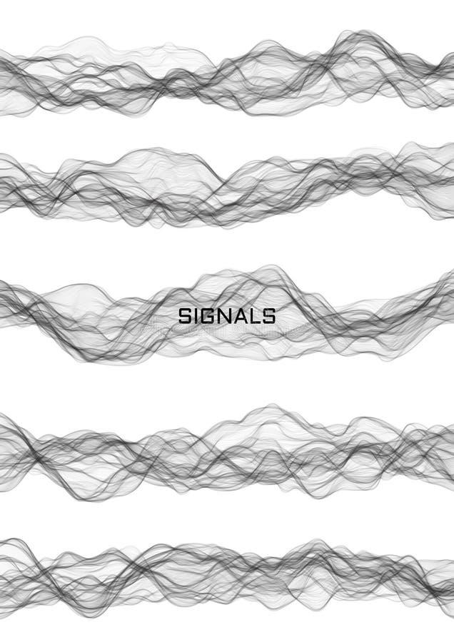 Reeks signalen, muziek of geproduceerde energiegolven gebruikend perlinlawaai royalty-vrije illustratie