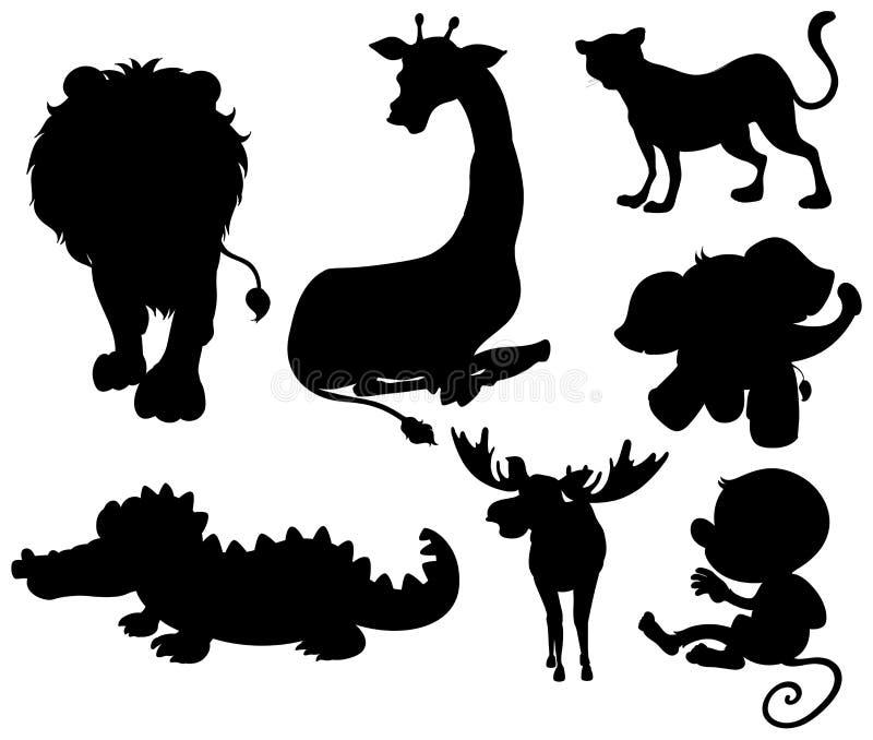 Reeks silhouetdieren royalty-vrije illustratie