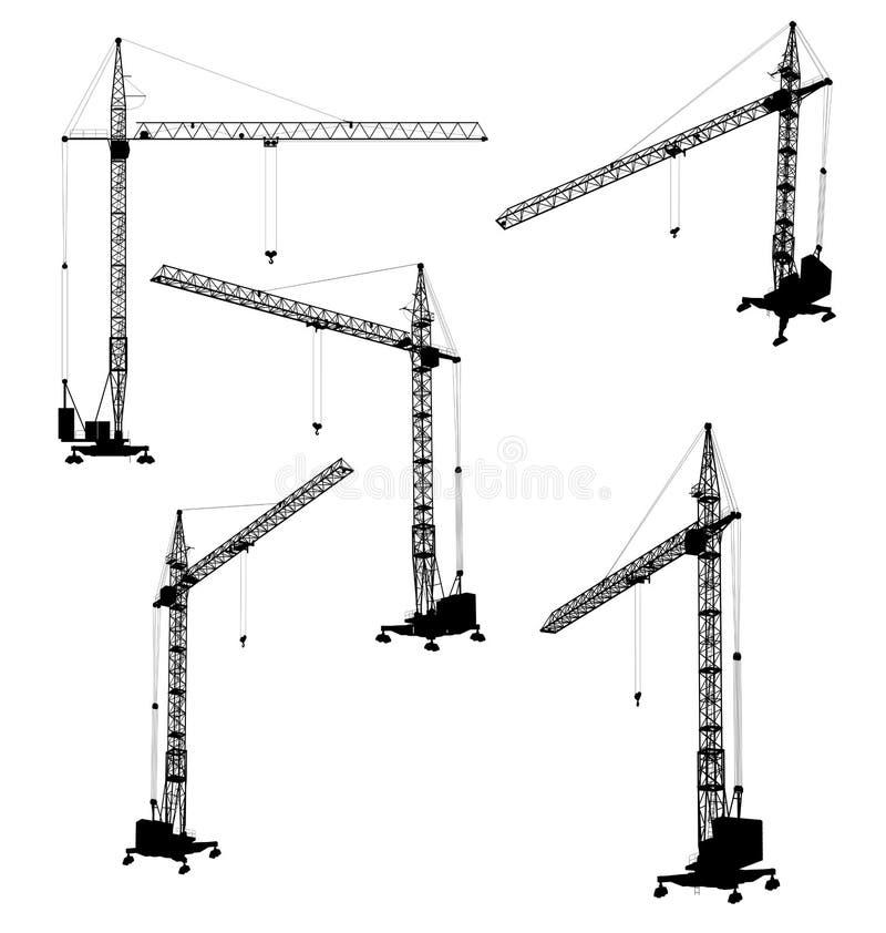 Reeks silhouetten van de bouwkraan stock illustratie