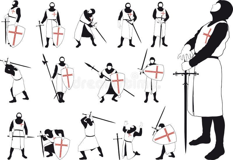 Reeks silhouetten van de Kruisvaarder stock illustratie