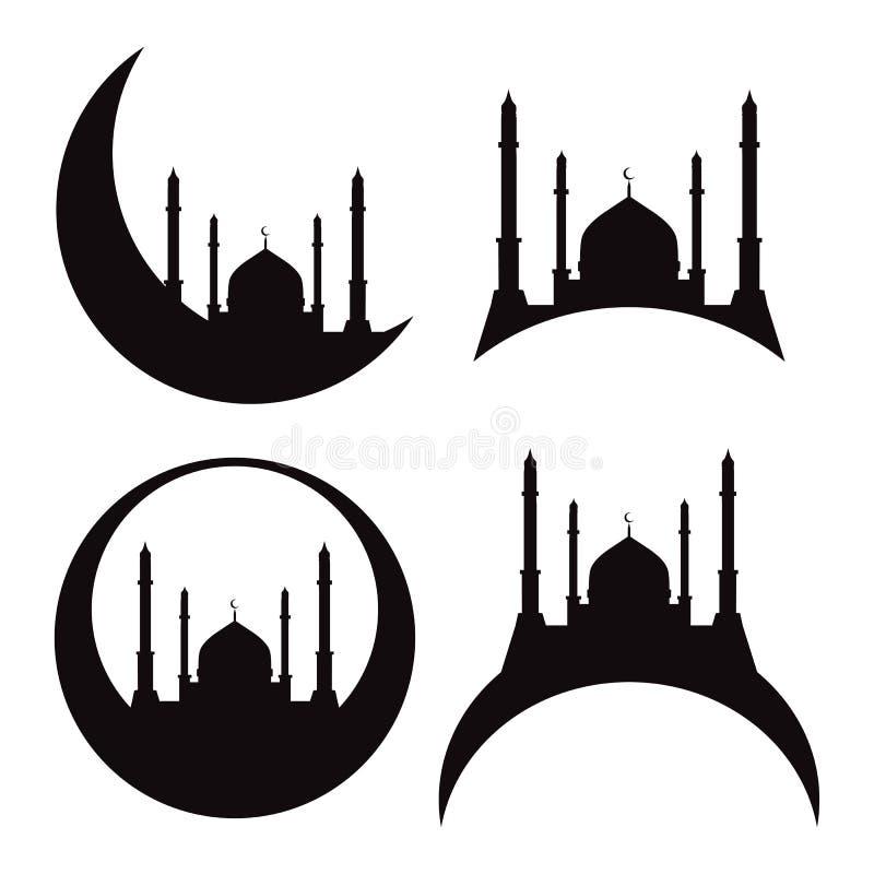 Reeks silhouetten van een moskee Eid Al Adha stock illustratie
