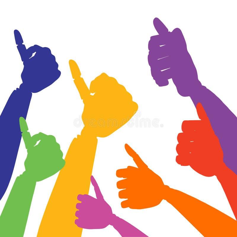 Reeks silhouetten van handen met omhoog duim vector illustratie