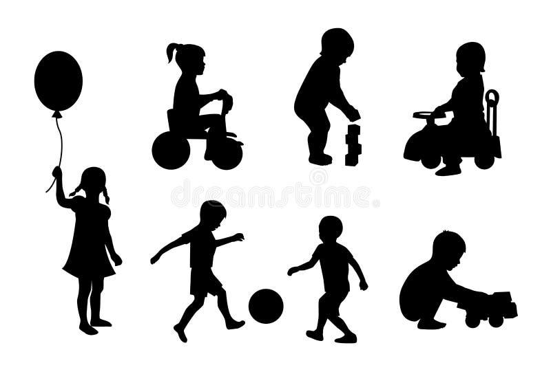 Reeks silhouetten van kinderen het spelen royalty-vrije illustratie