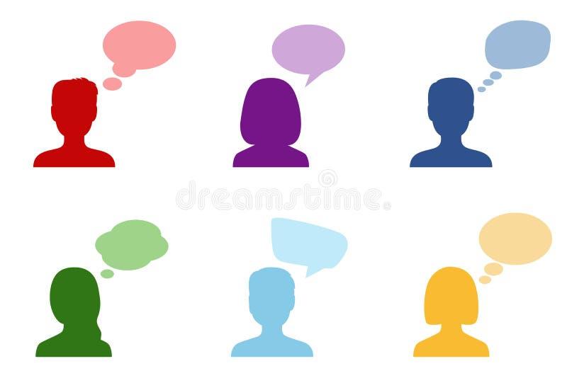 Reeks silhouetten van mensen met toespraakbellen, vector illustr vector illustratie