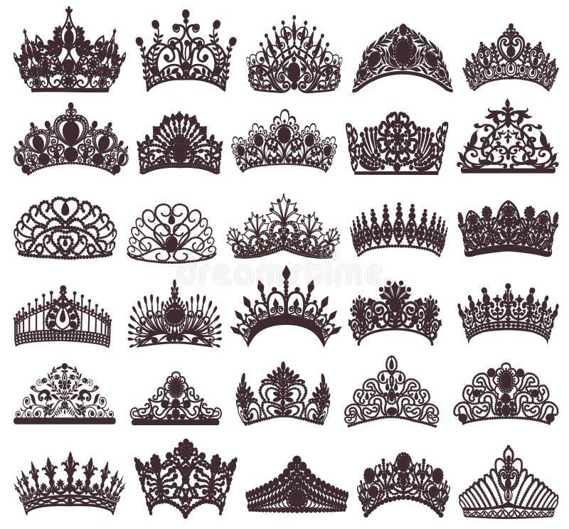 reeks silhouetten van oude kronen, tiara's, tiara royalty-vrije illustratie
