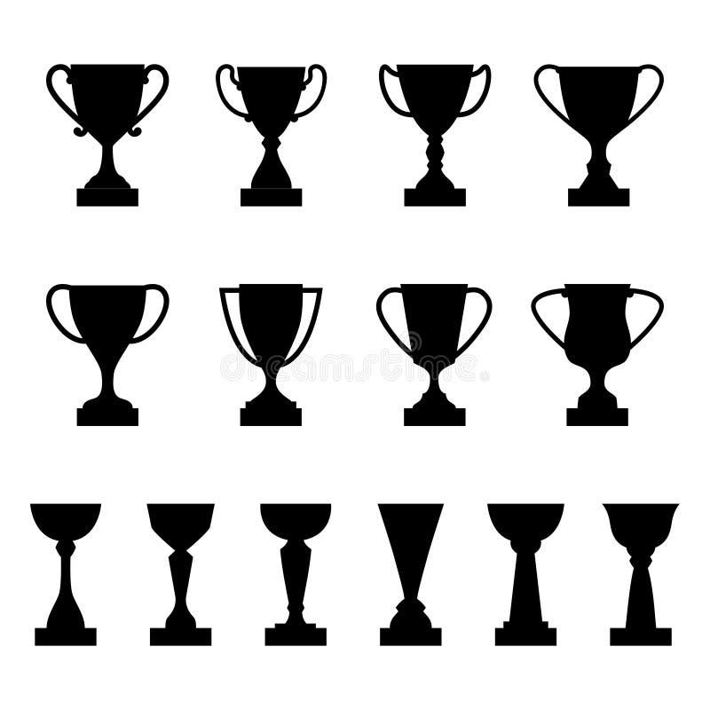Reeks silhouetten van toekenningskoppen en trofeeën stock illustratie
