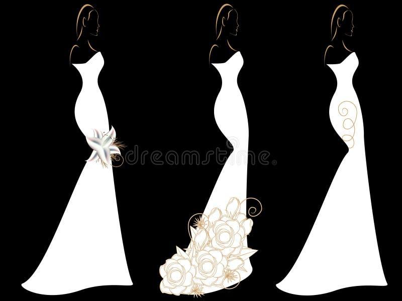 Reeks silhouetten van vrouwen in huwelijkskleding royalty-vrije illustratie