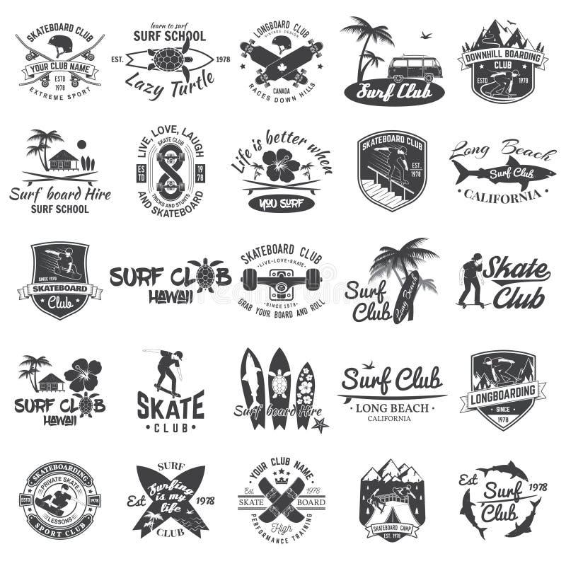 Reeks skateboard, longboard en kentekens van de brandingsclub Vector illustratie stock illustratie