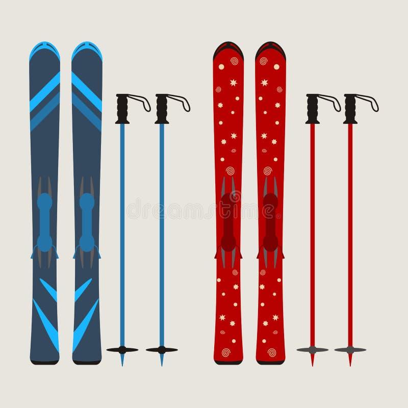 Reeks ski en skistokken - de wintermateriaal - vectorillustrati royalty-vrije illustratie