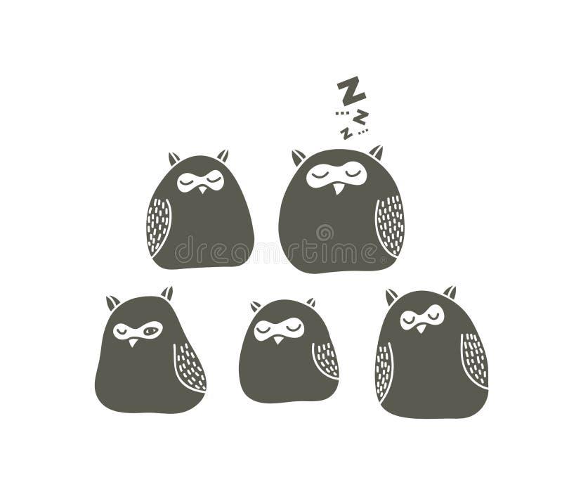 Reeks slaapuilen vector illustratie