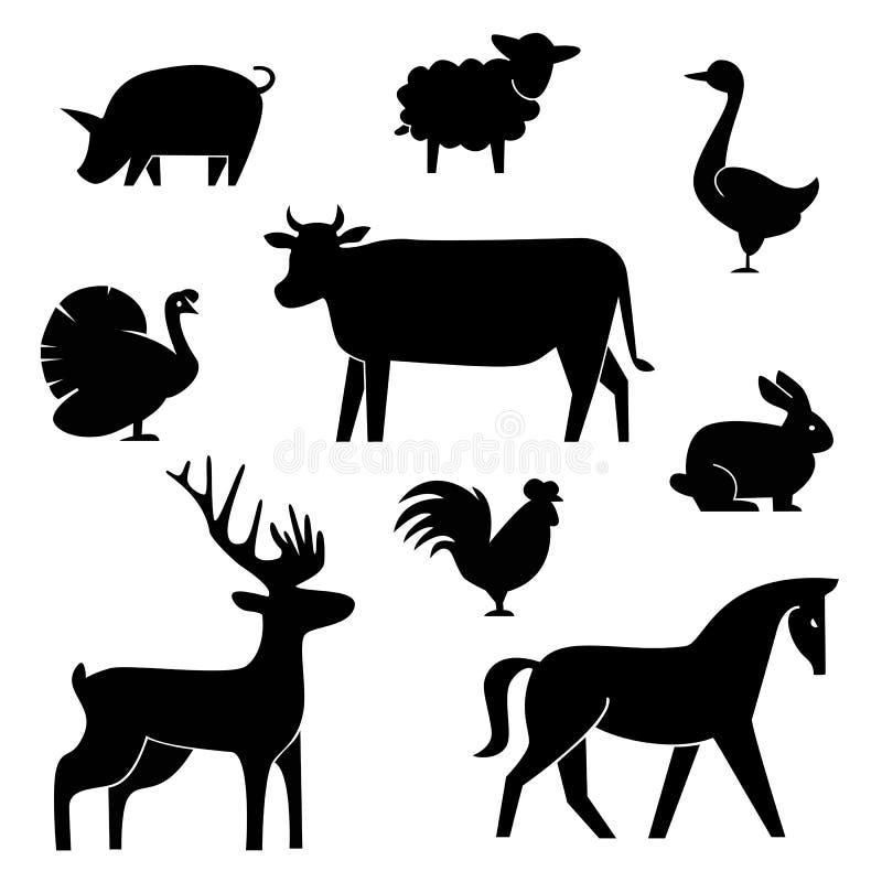 Reeks slachterij logotype malplaatjes De dieren van het beeldverhaallandbouwbedrijf met steekproeftekst Retro gestileerde stuk sp vector illustratie