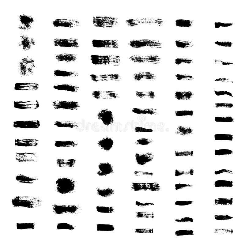 Reeks slagen van de grungeborstel vector illustratie