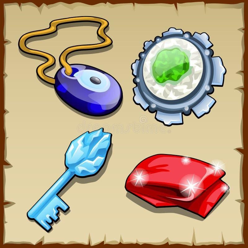 Reeks sleutel, charmes, magische steen en kaap vector illustratie