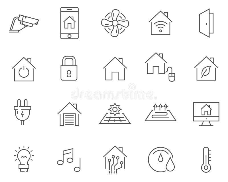 Reeks slimme vectorpictogrammen van de huislijn vector illustratie