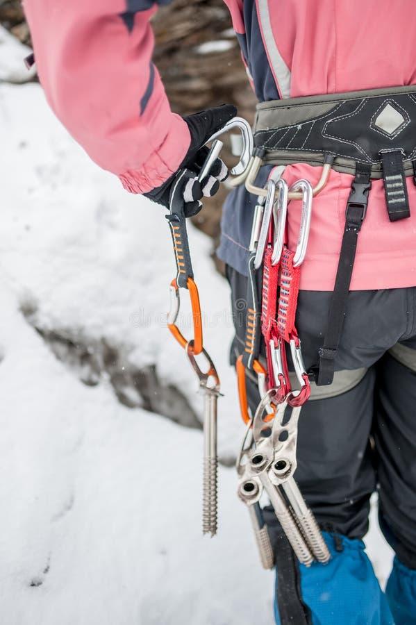 Reeks slingers op uitrustingen in sportmanijs het beklimmen royalty-vrije stock foto's