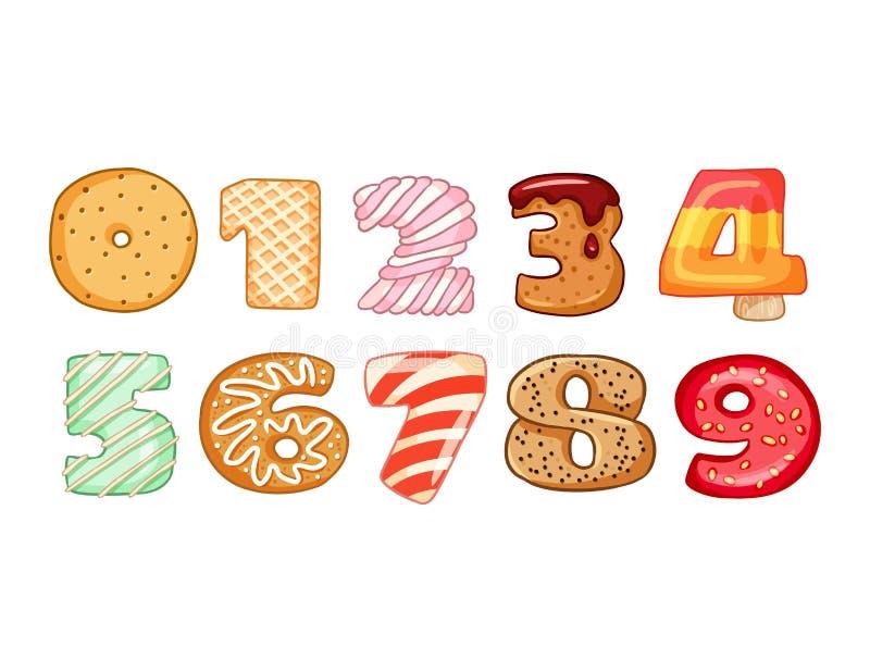 Reeks smakelijke aantallensymbolen Heerlijk, zoet, verglaasd, chocolade, yummy, smakelijke, gestalte gegeven doopvontaantallen Kl vector illustratie