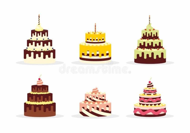 Reeks smakelijke cakes met room voor verjaardagen, huwelijken, verjaardagen en andere vieringen royalty-vrije illustratie