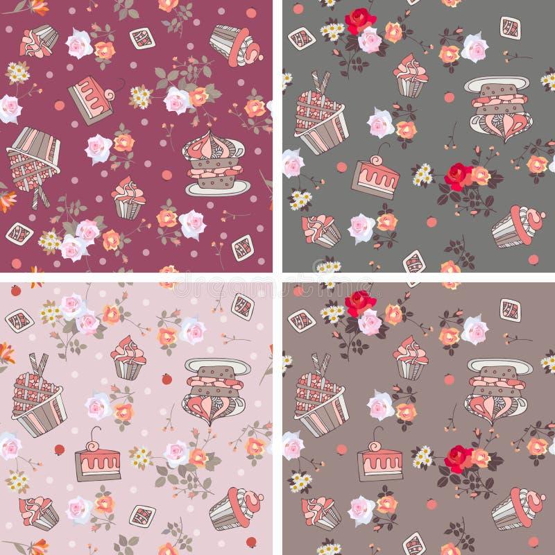 Reeks smakelijke naadloze patronen met zoete cupcakes en mooie bloemen stock illustratie