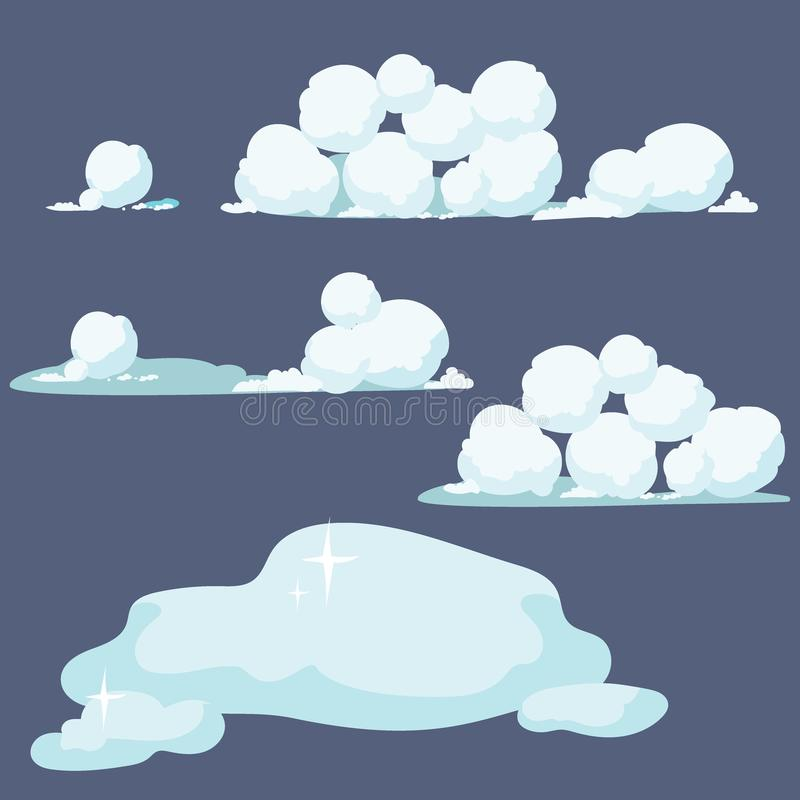 Reeks sneeuwballen Inzameling van sneeuwbanken Vectorillustratie van de winterelementen royalty-vrije illustratie