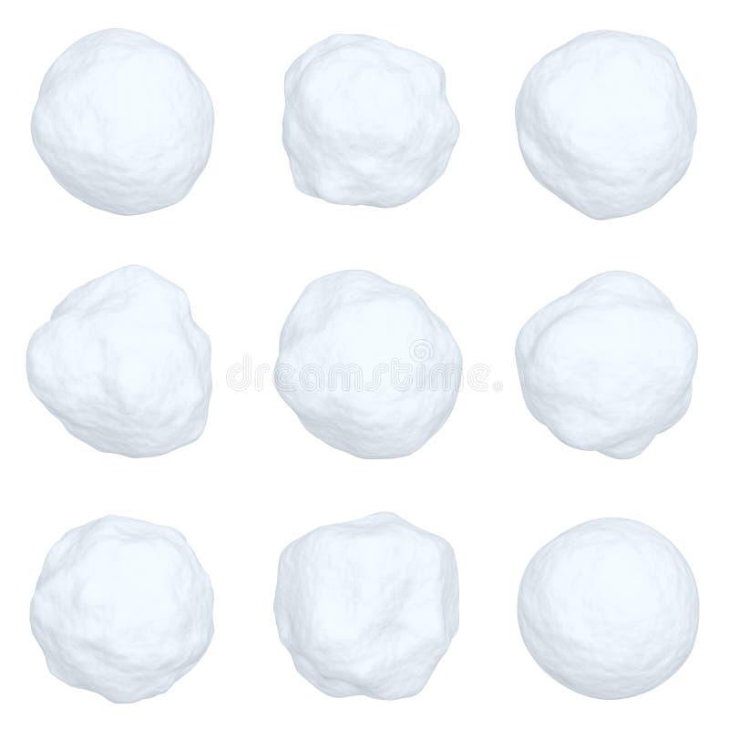 Reeks sneeuwballen op wit wordt geïsoleerd dat vector illustratie