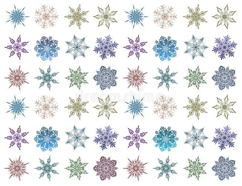 Reeks sneeuwvlokken van verschillende vormen en kleuren Mooie Sneeuw royalty-vrije illustratie