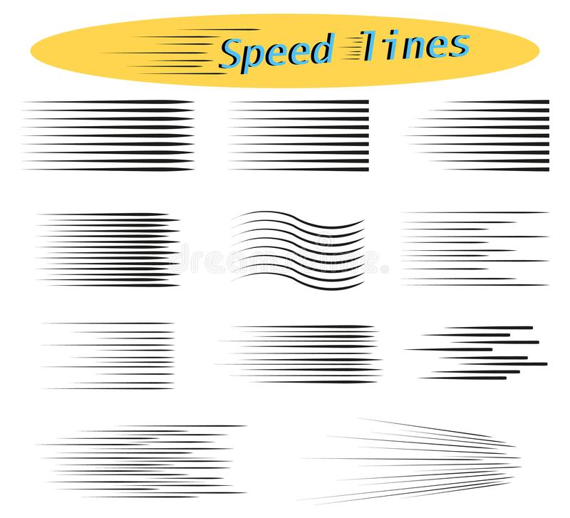 Reeks snelheidslijnen Ontwerpelementen voor Manga en Strippagina Vectorillustraties voor uw projecten stock afbeelding