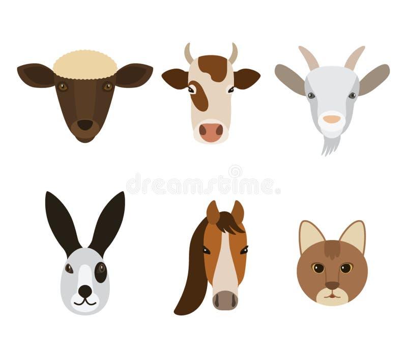 Reeks snuiten van dieren met een landbouwbedrijf in een beeldverhaalstijl op een witte achtergrond wordt geïsoleerd die Vector royalty-vrije illustratie
