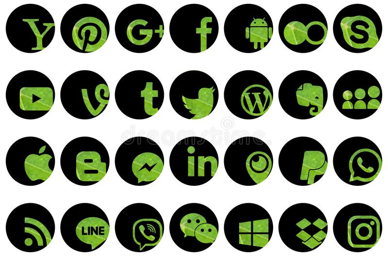 Reeks sociale media pictogrammen stock illustratie
