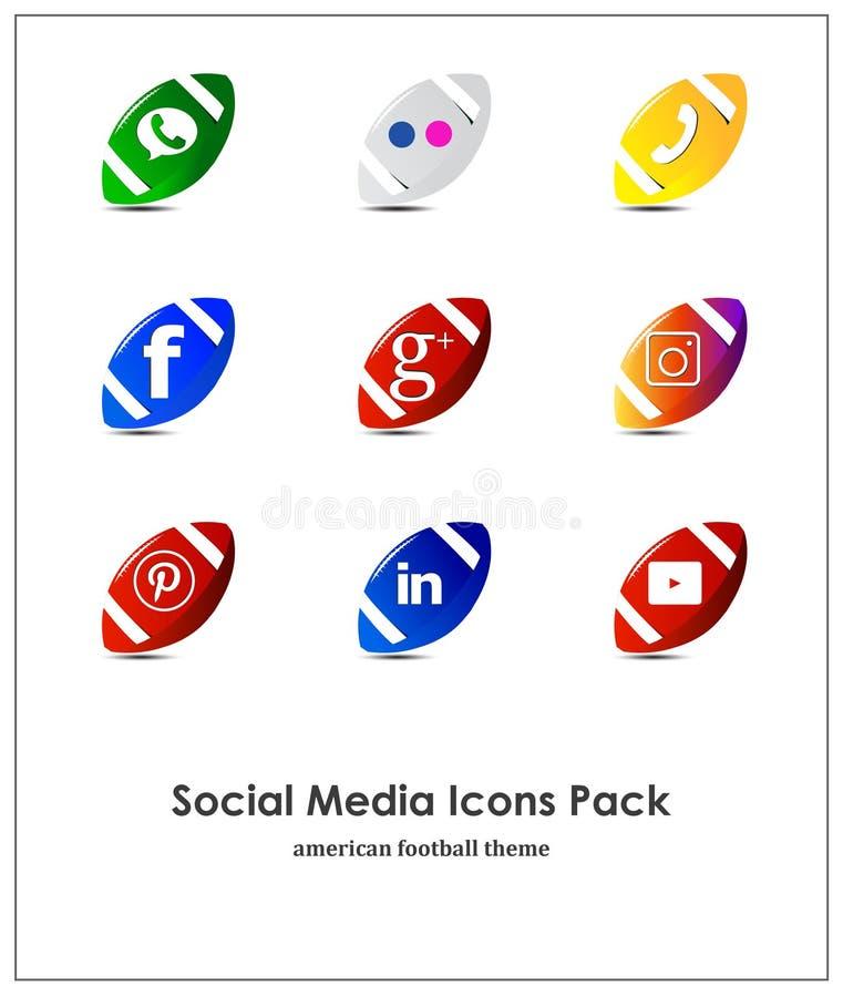 Reeks sociale media pictogrammen: Instagram, Facebook, Pinterest, YouTube, Twitter, WhatsApp vector illustratie