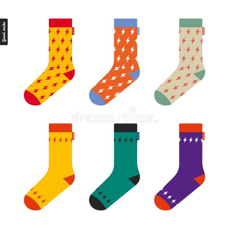 Reeks sokken met flitspatroon stock illustratie