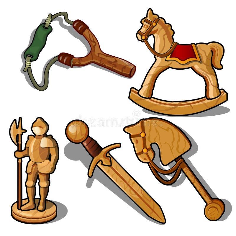 Reeks speelgoed van hout wordt op witte achtergrond wordt geïsoleerd gemaakt die Vector illustratie vector illustratie
