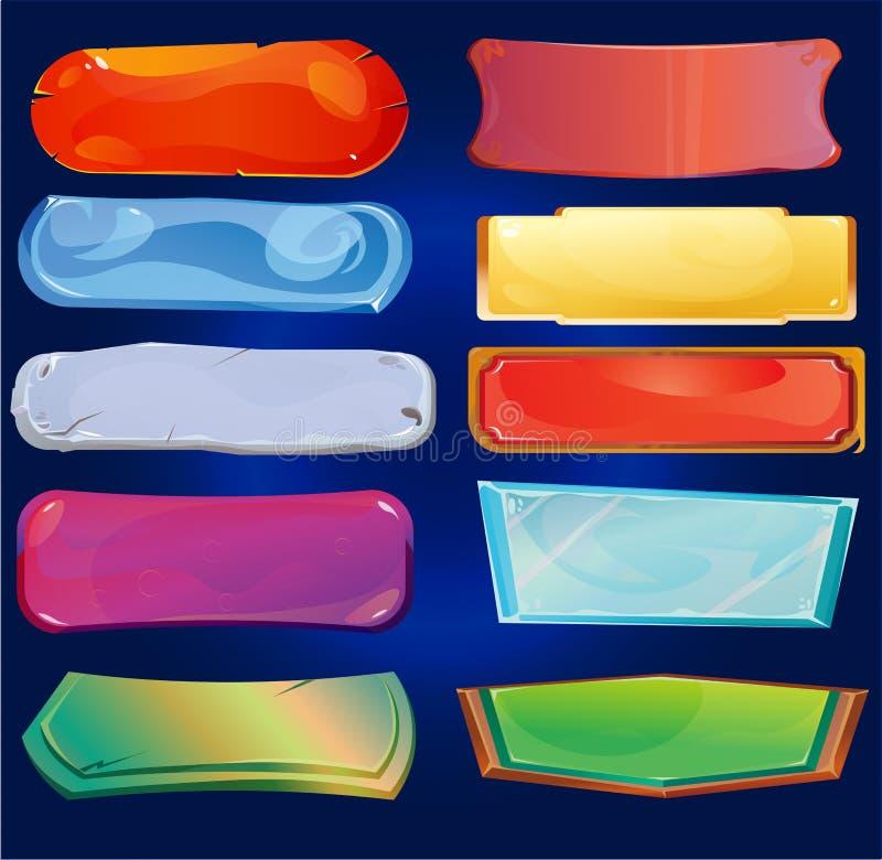 Reeks spelknopen De verschillende ontwerpen van de beeldverhaalknoop voor spelen, vector illustratie
